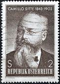 A stamp printed in austria shows Camillo Sitte