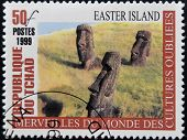 A stamp printed in Chad shows Easter island