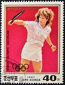 A stamp printed in North Korea shows Steffi Graf
