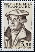 A stamp printed in France shows Martin Luther
