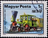HUNGARY - CIRCA 1979: A stamp printed in Hungary shows a locomotive, 1836 chicago & north western