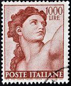 Un sello impreso en Italia muestra figura detallada de la Capilla Sixtina pintados por Miguel Ángel