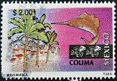 palm trees buildings and a sailfish associated with the state and city of Colima Mexico