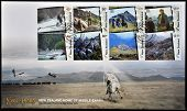 postcard printed in New Zealand shows Scenes from The Lord of the Rings