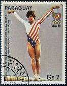 stamp printed in Paraguay shows Mary Lou Retton