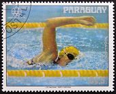stamp printed in Paraguay shows American swimmer Shirley Babashoff