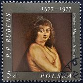 stamp printed in the poland shows fragment of draw of artist Peter Paul Rubens