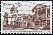 stamp printed in RSA shows old legislative assembly building