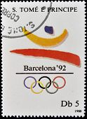 A stamp printed in Sao Tome shows Emblem of the 1992 Olympic Games in Barcelona, circa 1988