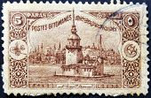 A stamp printed in Turkey shows old view of Istanbul