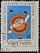 stamp printed in Vietnam shows Albert Einstein's famous formula