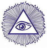 stock photo of masonic  - Eye Of Providence or All Seeing Eye Of God  - JPG