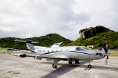 Tradewind Aviation Pilatus PC-12s aircraft ready to take off at St Barths airport.