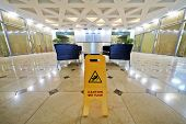 stock photo of no entry  - Hall at business center after floor cleaning - JPG