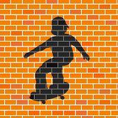 Vector illustration of skater shadow in brick wall