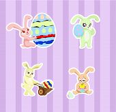 picture of rabbit hole  - set of easter rabbits with eggs - JPG