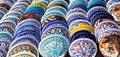 stock photo of pottery  - Beautiful arabic colorful pottery bowls made of mosaic vibrant glass tiles - JPG