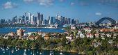 stock photo of cbd  - Panorama of Sydney Harbor and the CBD at sunrise   - JPG