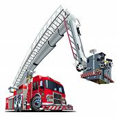 image of big-rig  - Vector Cartoon Fire Truck Hotrod - JPG
