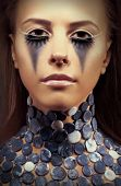 Halloween. Fancy Dress Party. Young Woman - Bright Blue Makeup