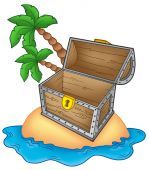 image of treasure chest  - Pirate island with open chest  - JPG