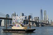 Ship of Tolerance in the front of Brooklyn Bridge  during Dumbo Arts Festival 2013 in Brooklyn