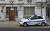 Municipal police car in the front of gendarmerie precinct  in Avignon, France