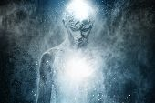 foto of alien  - Man with conceptual spiritual body art - JPG
