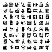 stock photo of broom  - Big Elegant Vector Black Cleaning Icons Set - JPG