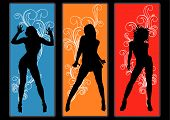 stock photo of stripping women window  - Flyer or poster for your party with dancing girls - JPG