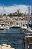 Marseilles France, view of Notre-Dame de la Garde and Old port