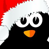 Penguin With Christmas Hat Art Vector Illustration
