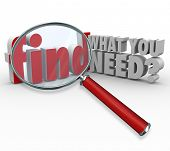 The question Find What You Need? and magnifying glass searching or researching for desired informati