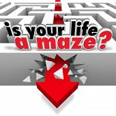 The words Is Your Life a Maze asking you the question of whether you need help or direction to find your way through challengine times in personal or worklife
