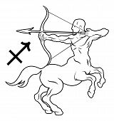 stock photo of sagittarius  - Illustration of Sagittarius the archer or centaur zodiac horoscope astrology sign - JPG