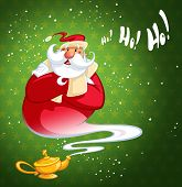 image of genie  - Happy laughing cartoon Santa Claus coming excited out of magic oil lamp making genie gesture in green background with stars - JPG