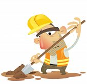 Under Construction Man Working Digging With A Spade Wearing Helmet