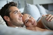 stock photo of sweet dreams  - Sweet in love couple dreaming of their future - JPG