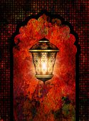 picture of eid ka chand mubarak  - colorful ramadan kareem background with shiny lantern - JPG