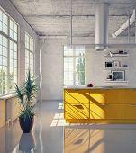 modern kitchen in loft interior (3d illustration)