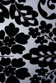 Black Flowers On Silver Metallic