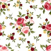 stock photo of english rose  - Vector vintage seamless pattern with red - JPG