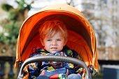 Portrait Of Toddler Boy In Autumn Or Spring Clothes In Orange Stroller