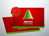 Beautiful Gift Cards for Happy New Year and Merry Christmas celebrations with glossy green Xmas tree