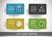 set of four christmas gift cards