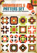Abstract geometric vintage retro shapes for background creation. Creation kit