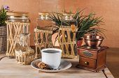 Italian coffee on wooden table