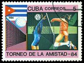Vintage  Postage Stamp. Women's Volleyball.