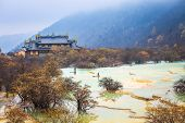 Huanglong Scenery With Travertine Pond