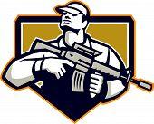 Soldier Military Serviceman Assault Rifle Retro
